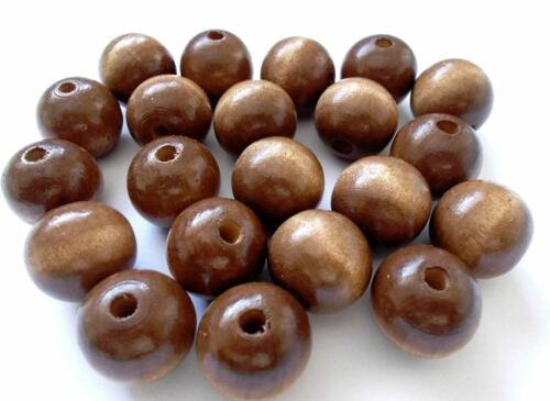 80pcs 20mm WOODEN Large Round Spacer Beads BROWN B24