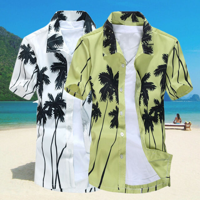 Stylish Men's Aloha Shirt Cruise Tropical Luau Beach Hawaiian Hawaii Palm Tree