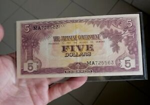 1942 Malaya Japanese Occupation Note $5 with number MA725563 Crispy AEF-EF