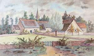 Side-Coast-Gold-Arconcez-Village-Watercolour-1910-France