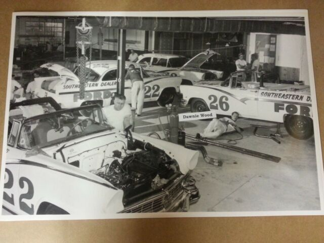 """12 By 18"""" Black & White Picture 1956 Ford Garage Curtis Turner Fireball Robert's"""