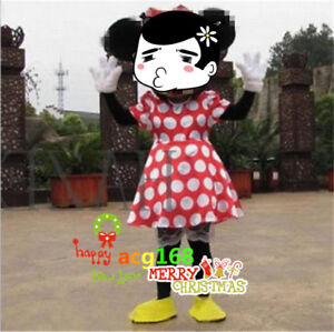 Halloween Funny Minnie Mouse Mascot Costume Dress Back Ride On Adult Party Suits