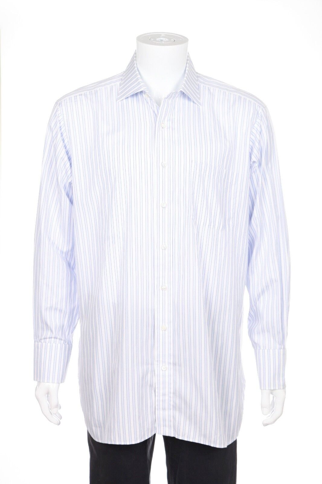 ROBERT TALBOTT Dress Shirt Size 16   41 White bluee Purple Striped Button Down