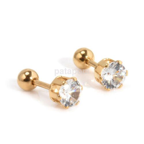 2 Pcs CZ 6 Prong Tragus Cartilage Stainless Steel Stud Earrings Piercing Steady