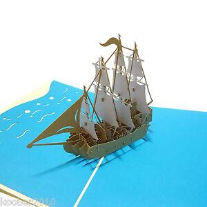 pop up karte viermaster 3d klappkarte schiff segel boot pirat gutschein ebay. Black Bedroom Furniture Sets. Home Design Ideas