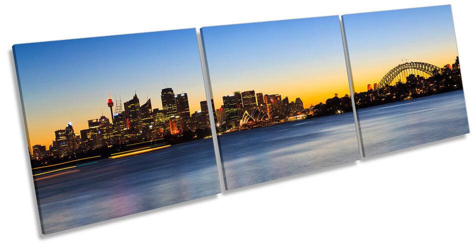 Sydney Skyline Australia Stadt Sunset  TREBLE CANVAS Wand Kunst Box Frame Bild
