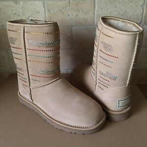 99c68287476 Details about UGG Classic Short Serape Bling Swarovski Crystal Sand Suede  Boots Size 5 Womens