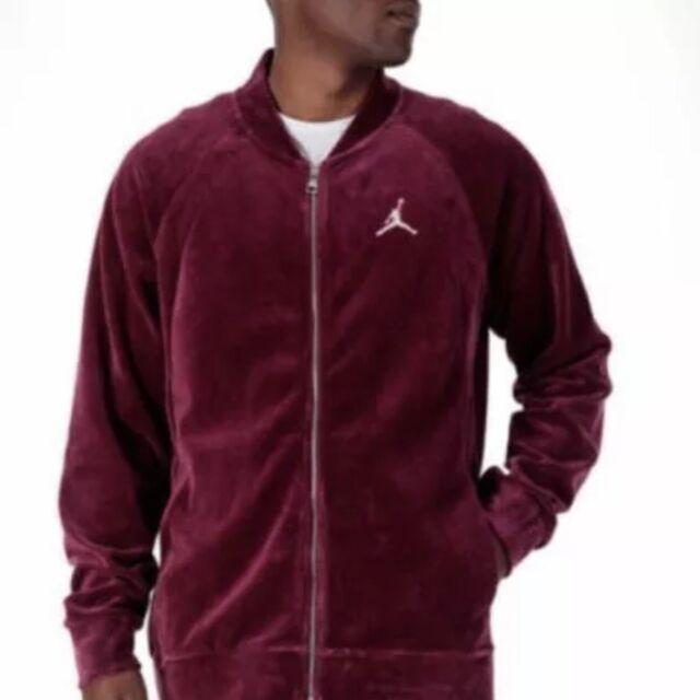 e6bb02eed7be1b Nike Air Jordan Velour Full Zip Jacket Maroon Silver Ah2357 609 Men ...