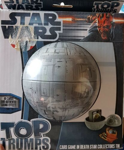 TOP TRUMPS STAR WARS IN A DEATH STAR TIN. BRAND NEW SEALED.