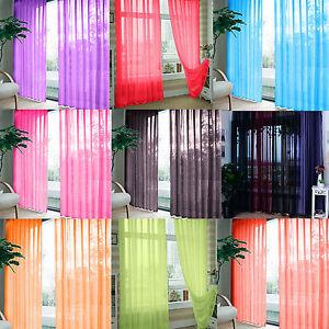 2PCS-Valances-Tulle-Voile-Door-Window-Curtain-Drape-Panel-Sheer-Scarf-Divider