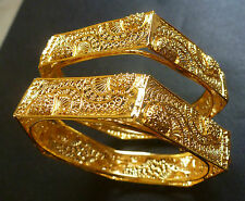 South Indian 22K Gold Plated 2 Bangles Bracelets 6 Angles Sided Net Set 2.4'' ,