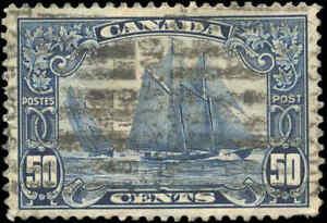 Stamp-Canada-Used-1929-50c-F-VF-Scott-158-034-Bluenose-034-King-George-V-Scroll
