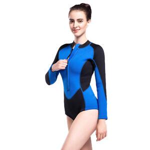 99d4fe281b Image is loading Women-3mm-Neoprene-One-Piece-Swimsuit-Front-Zipper-