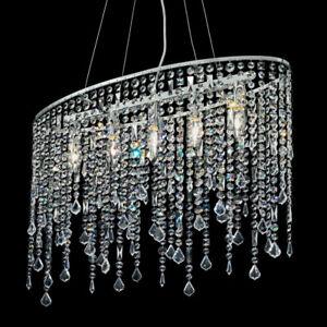 Details zu MIA Kristall Hänge Leuchte Modern/ Chrom/ Pendel Lampe  Höhenverstellbar Hängelam