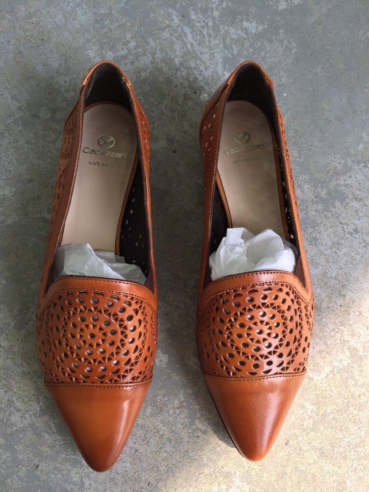 ordina ora i prezzi più bassi NIB CAPEZZANI CAPEZZANI CAPEZZANI Dimensione 37 7 Marrone Laser Cut Design Leather Flats scarpe Made In   risparmia fino al 70%