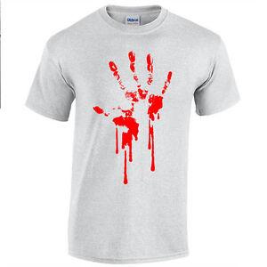 Sangre-Mano-Camiseta-Estampada-Serigrafiado-Goteo-Zombie-Apocalypse-Horror