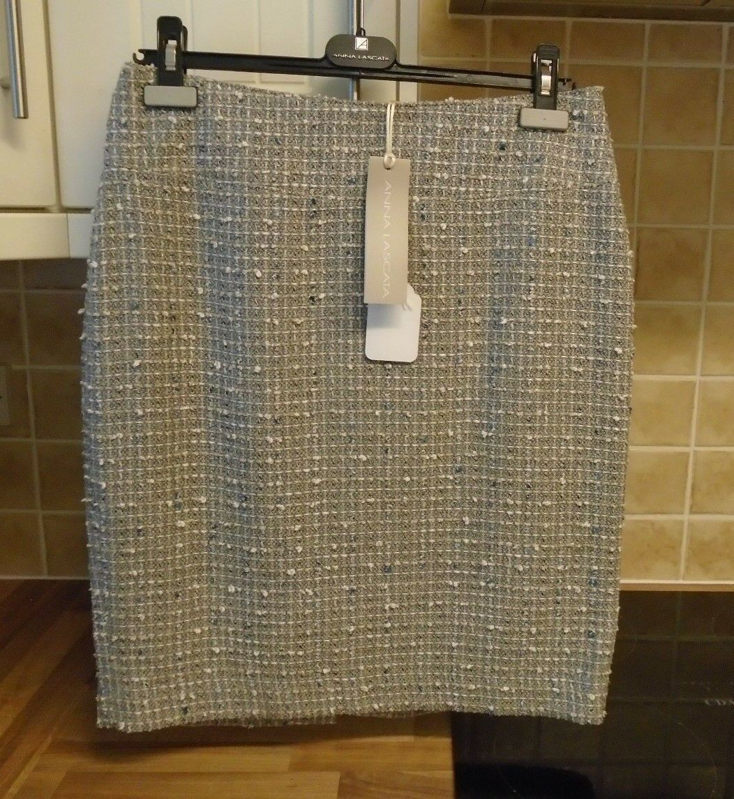New RRP  Anna Lascata Bernice Boucle Skirt Cotton Silk 40