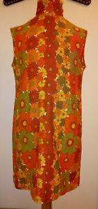 Kids-Girls-1960s-orange-psychedelic-dress-Ditsy-Vintage-Age-6-7-8