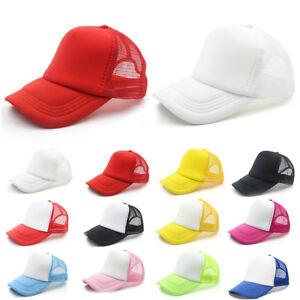 Unisex-Baseball-Cap-Trucker-Nylon-Mesh-Blank-Curved-Visor-Hat-Adjustable-Summer