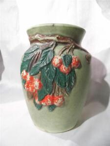 vintage-Nelson-McCoy-Pottery-Cherries-amp-Leaves-flower-VASE-urn-depression-era