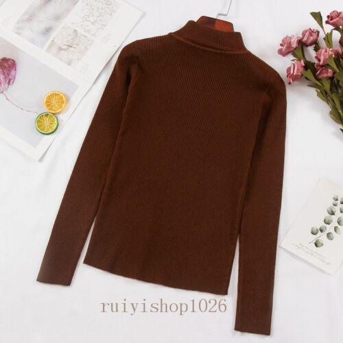 Winter Womens Mock Neck Pullover Long Sleeve Slim Knit Sweater Shirt Blouse Tops