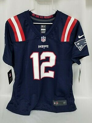 Tom Brady Patriots Jersey Nike On the Field Womens XL Blue # 12 NEW $100