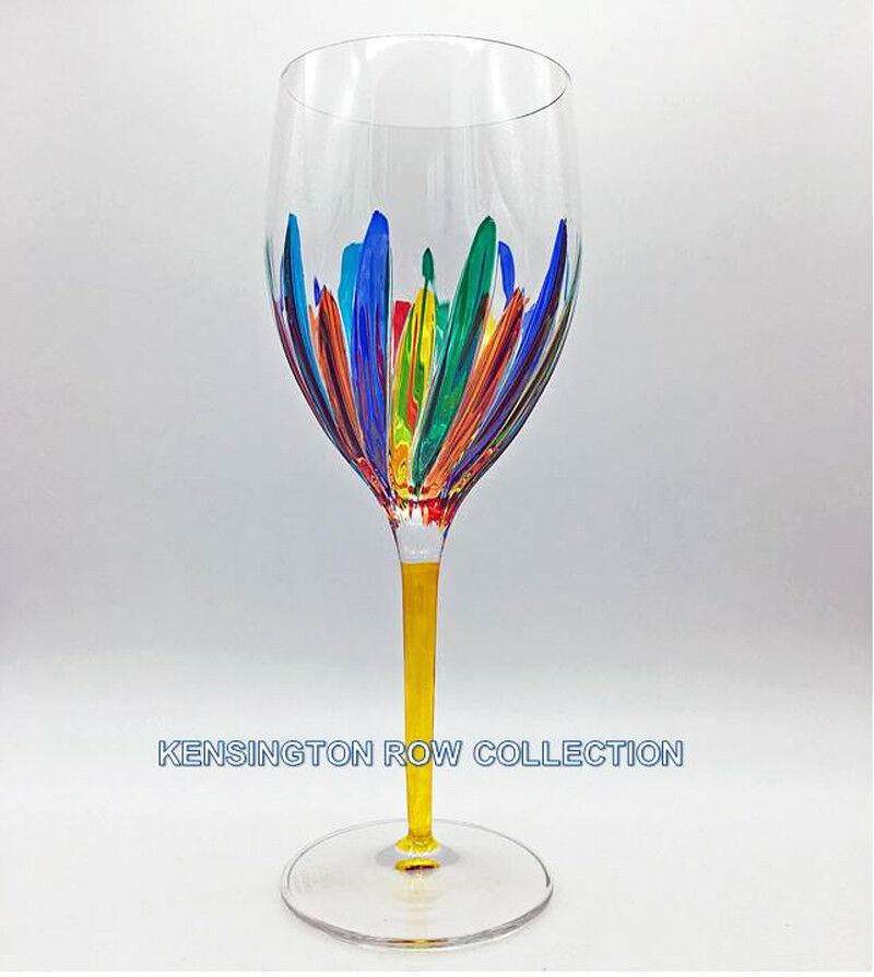 RAVENNA  OVERSIZED WINE GLASS - YELLOW STEM - HAND PAINTED VENETIAN GLASSWARE