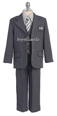 Boy/'s 5 Pc Black Pin Stripe Suit Tuxedo Formal w//Vest Tie Toddler Teen All Sizes