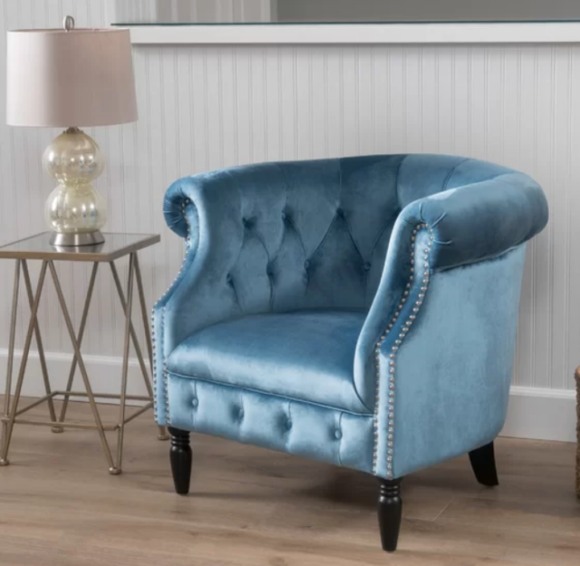 Blue Velvet Accent Chair Lounge Living Room Bedroom Club Tufted Traditional  New