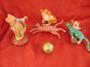 4 Unique Cat Christmas tree ornaments stripped kitties ...