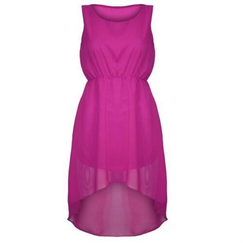 Womens Ladies Chiffon Sleeveless Dipped Back  Hi Low Hem Evening Skirt Dress Top