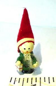 Little Wooden Elf Free Standing Ornament Vintage Miniature