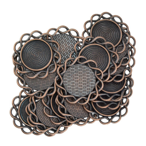 60pcs Vintage Bronze Boho Stil Legierung Runde Blume Anhänger Cabochon