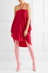 d3daf2c285ae Image is loading BALENCIAGA-1265-New-Red-Convertible-Pleated-Stretch-Satin-