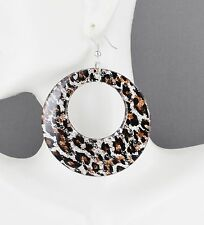"Silver Brown Black cheetah leopard animal print dangle disc hoop earrings 3""long"