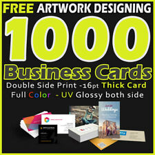 1000 Business Cards Full Color 2 Side Printing UV Coated- Designing-