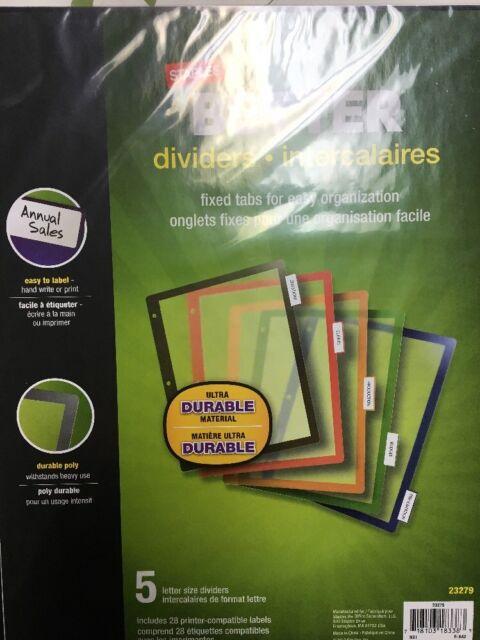 staples better fixed tab dividers 5 tab mulitcolor 1 set pack ebay