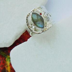 Labradorit blau edel Design Ring, Ø 19,0 mm verstellbar 925 Sterling Silber, neu