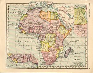 Carte Afrique Egypte.Details Sur 1930 Carte Afrique Encart Egypte Nubia Madagascar West Coast Congo Abyssinia