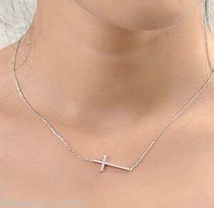 new-ladys-Horizontal-Sideways-Cross-14k-white-Gold-Plated-Pendant-Necklace