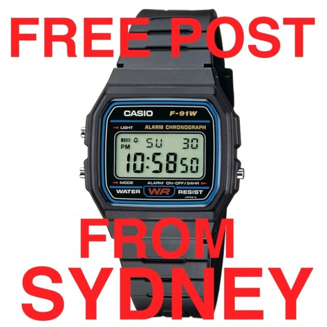 CASIO F91W DIGITAL WATCH RETRO VINTAGE BLACK F91-W-1 CLASSIC ORIGINAL UNISEX