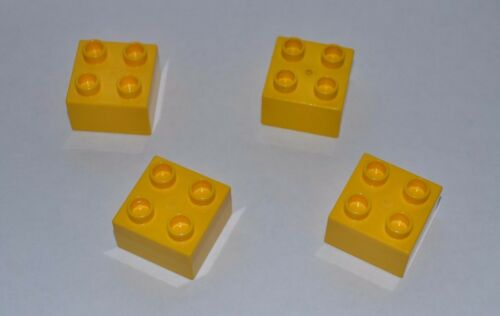 combined shipping lot of 4 yellow Duplo blocks 2X2