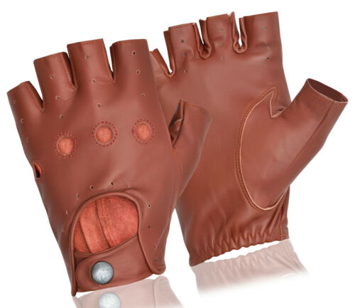 HALF FINGER CHAUFFEUR MENS TOP QUALITY SOFT LEATHER FINGER LESS DRIVING GLOVES