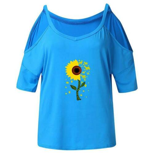 UK Women Sunflower T-Shirt Cold Shoulder Short Sleeve Holiday Casual Tops Blouse