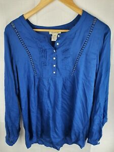 Ariat-Rayon-Blue-Long-Sleeve-Shirt-Blouse-Womans-Size-M