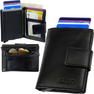 FIGURETTA-Aluminium-Leder-Brieftasche-Cardprotector-RFID-Kartenetui-Portemonnaie