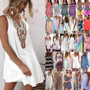 Womens-Holiday-Beach-Bikini-Cover-Up-Boho-Casual-Party-Sun-Mini-Dress-Sundress
