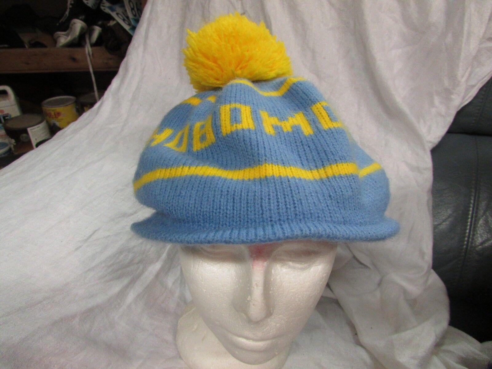 vintage stocking hat HOBOMOCK BLUE pom pom 1970 1980s ski retro tuque cap beanie