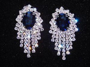 Image Is Loading Shire Blue W Clear Rhinestone Bridal Chandelier Silver