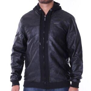 Lederjacke Black Zu Details Up Padded Übergangsjacke Mix Jacket Kunst Pelle e2WIYD9EH